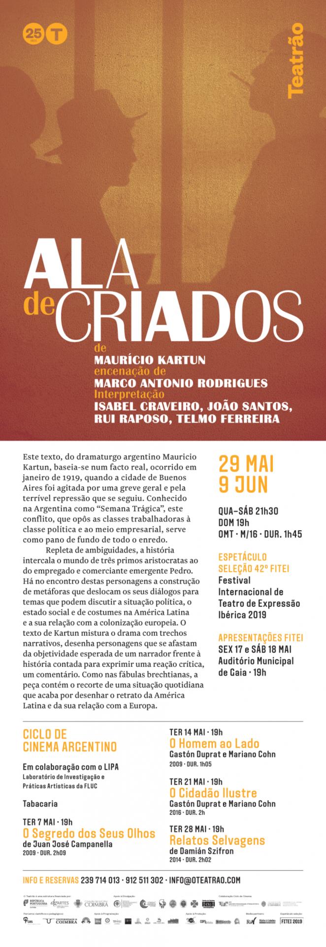 """Ciclo """"Novo Cinema Argentino"""" no Teatrão"""